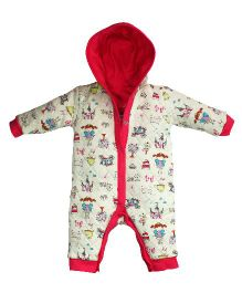 FS Mini Klub Full Sleeves Hooded Romper Multiprint - Cream & Pink