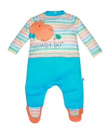FS Mini Klub Full Sleeves Stripes Sleep Suit - Blue And Multi Color