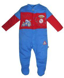 FS Mini Klub Full Sleeves Sleep Suit Road Race Print - Red Blue