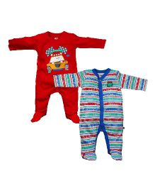 FS Mini Klub Full Sleeves Printed Sleep Suit Pack of 3 - Multi Color