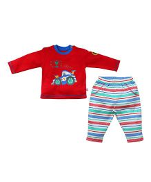 FS Mini Klub Full Sleeves T-Shirt And Stripe Pajama Car Print - Red White