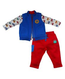 FS Mini Klub Car Print Jacket With Bottom - Red And Blue