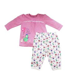 FS Mini Klub Full Sleeves Night Suit Bird Print - Pink & White