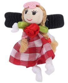 Sugarcart Big Checks Doll On Scrunchies - Maroon & White