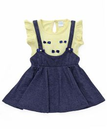 Babyhug Ruffle Sleeves Frock Bow Appliques - Light Yellow Navy