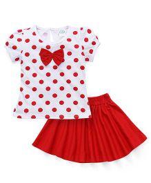 Babyhug Skirt And Top Set Polka Dot Print - White And Red