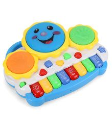 Smiles Creation Electronic Drum With Organ Keyboard - Blue