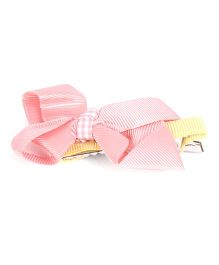 NeedyBee Girls Hair Clip With Ribbon Knot Bow - Peach
