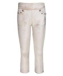 Cutecumber Fitted Party Wear Leggings Rhinestones Embellished - White