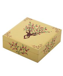 The Crazy Me Deer Pattern Wooden Jewellery Box - Blue