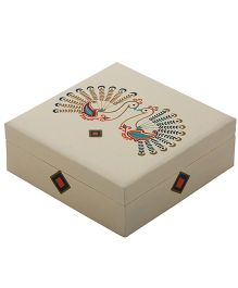 The Crazy Me Peacock Wooden Jewellery Box - White