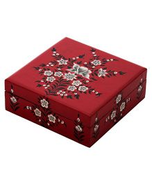 The Crazy Me Flowery Nature Wooden Jewllerry Box - Red