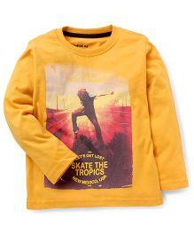 Doreme Full Sleeves T-Shirt Skate The Tropics Print - Yellow