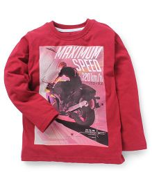 Doreme Full Sleeves T-Shirt Maximum Speed Print - Maroon