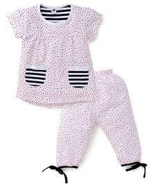 Teddy Short Sleeves Night Suit Star Print - White