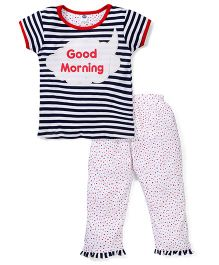 Teddy Short Sleeves Stripe Top And Pajama Good Morning Print - Navy White