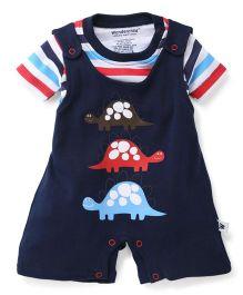 Wonderchild 2 Piece Turtle Print Romper - Navy Blue