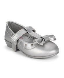 Dora Ballerina Shoes Bow Detailing  - Silver