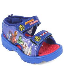 Avengers Printed Sandals With Velcro Closure - Blue