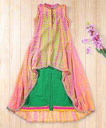 Twisha Shibori Print Long Jacket With Side Slit Straight Gown - Pink