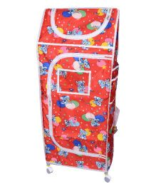 Funride Kids Foldable Almirah With Wheels Bear Print - Red