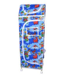 Funride Kids Foldable Almirah With Wheels Animal Print - Blue