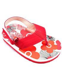 Pugs Flapper Flip Flop With Flower Garden Print - Red