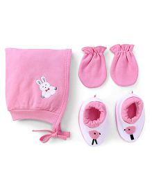 Child World Cap Mittens And Booties Set Rabbit Design - Pink