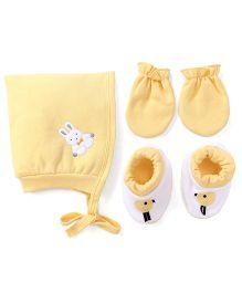 Child World Cap Mittens And Booties Set Rabbit Design - Yellow