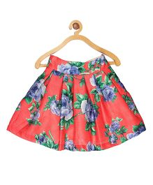 My Lil Berry Floral Printed Box Pleated Skirt - Red
