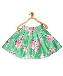 My Lil Berry Floral Printed Box Pleated Skirt - Green