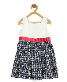 My Lil Berry Solid And Printed Dress With Satin Sash - Creme & Navy