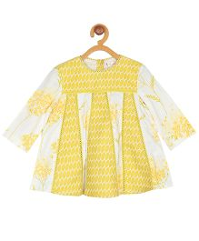 My Lil' Berry Full Sleeves Frock Floral Print - White and Yellow