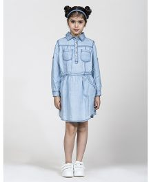 My Lil' Berry Full Sleeves Denim Frock Star Embroidary - Blue