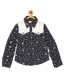 My Lil Berry Full Sleeves Shirt Floral Print - Blue