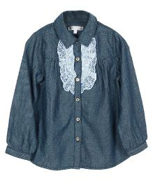 My Lil Berry Full Sleeves Shirt Lace Detailing - Dark Blue