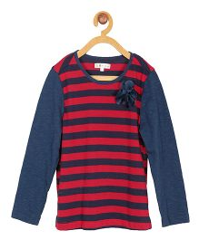 My Lil Berry Full Sleeves Stripe Top Floral Applique - Red Navy