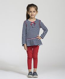 My Lil Berry Full Sleeves Sailor Striped Knit Peplum Top - White And Navy