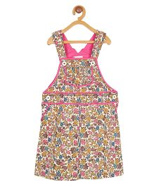 My Lil Berry Floral Corduroy Dungaree Skirt - Multi Color