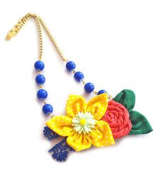 Soulfulsaai Floral Bead Necklace - Blue