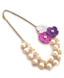 Soulfulsaai Pearl Crochet Necklace - Purple