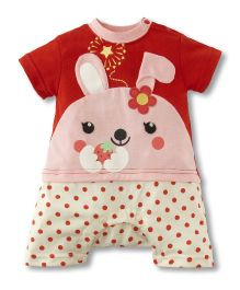 Teddy Guppies Short Sleeves Romper Floral Patch - Red Pink