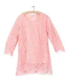 Whitehenz ClothingCute Lace Full Sleeves Tunic - Pink
