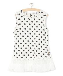 Whitehenz Clothing Polka Sleeveless Tunic - White