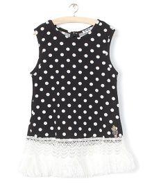 Whitehenz Clothing Polka Sleeveless Tunic - Black