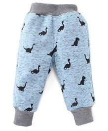 Little Kangaroos Full Length Dinosaur Print Bottoms - Sky Blue & Grey