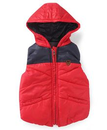 Play By Little Kangaroos Sleeveless Hooded Jacket - Red