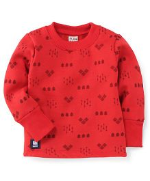 Play By Little Kangaroos Full Sleeves T-Shirt Arrow Print - Red