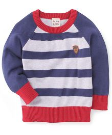 Play By Little Kangaroos Full Sleeves T-Shirt Striped - Red Navy Blue