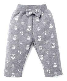 Play By Little Kangaroos Full Length Printed Leggings Bow Applique - Grey